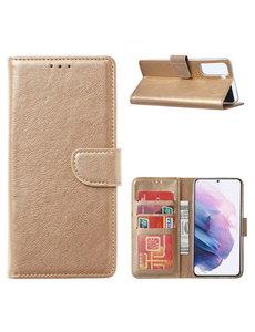 Ntech Samsung Galaxy S21 Ultra Hoesje - Samsung S21 Ultra Portemonnee bookcase met Pasjeshouder - Goud
