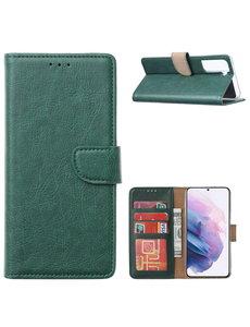 Ntech Samsung Galaxy S21 Ultra Hoesje - Samsung S21 Ultra Portemonnee bookcase met Pasjeshouder - Groen