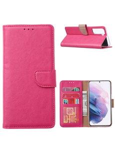 Ntech Samsung Galaxy S21 Ultra Hoesje - Samsung S21 Ultra Portemonnee bookcase met Pasjeshouder - Pink