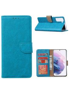 Ntech Samsung Galaxy S21 Ultra Hoesje - Samsung S21 Ultra Portemonnee bookcase met Pasjeshouder - Blauw