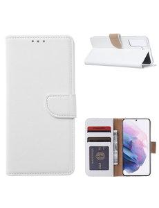 Ntech Samsung Galaxy S21 Ultra Hoesje - Samsung S21 Ultra Portemonnee bookcase met Pasjeshouder - Wit