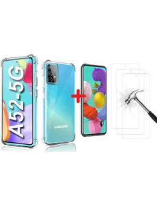 Ntech Samsung Galaxy A52 hoesje Anti Shock Back Case + 2x Glazen Screenprotector / tempered glass