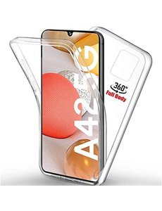 Ntech Samsung Galaxy A42 Hoesje 360° Cover 2 in 1 Case - Samsung A42 Dual TPU Case ( Voor en Achter) Transparant