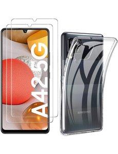 Ntech Samsung Galaxy A42 Hoesje - Samsung A42 Transparant TPU Backcover Met 2pack glazen Screenprotector