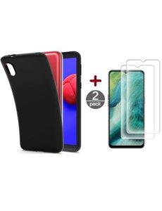 Ntech Samsung Galaxy A01 Core Hoesje Zwartsiliconen backcover TPU Back case met Samsung Galaxy A01 Core met Screenprotector Glazen 2 stuks
