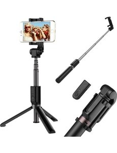 Ntech Selfie Stick Draadloos 3 in 1 Tripod voor iPhone 12 Mini / iPhone 12 / 12 Pro / 12 Pro Max - Zwart