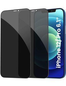Ntech iPhone 12 - Privacy Screenprotector Glass - iPhone 12 Pro AntiSpy Premium Screenprotector 2pack tempered glass
