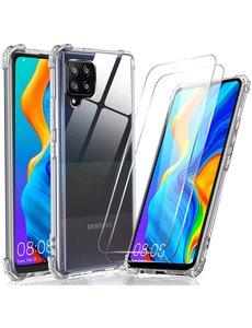 Ntech Samsung Galaxy A42 5G hoesje ShockProof Back Case anti Shock Cover + Samsung Galaxy A42 Glazen Screenprotector / 2X tempered glass
