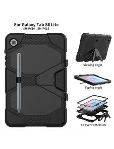 Ntech Samsung Galaxy Tab S6 Lite Hoes P610 Extreme protectie Army Backcover hoesje Zwart