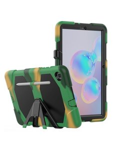 Ntech Samsung Galaxy Tab S6 Lite Hoes P610 Extreme protectie Army Backcover hoesje - Camouflage Groen