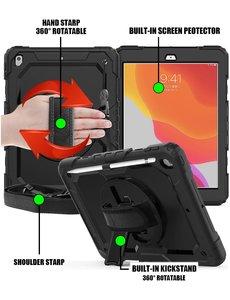 Ntech Apple iPad 10.2 Hoes Kids case (2019 / 2020) - iPad 10.2 Robuuste Hybride hoesje Armor cover met Handband - Zwart