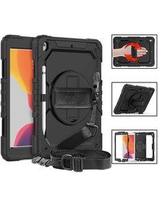 Ntech Apple iPad Air 3 10.5 Hoes Kids case (2019) - iPad Pro 10.5 Robuuste Hybridee hoesje Armor cover met Handband - Zwart