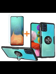 Ntech Samsung Galaxy A71 hoesje Luxe carbon TPU Backcover Met Metalen Ring Houder - Zwart met 2 pack screenprotector