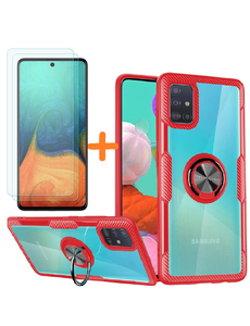 Ntech Samsung Galaxy A71 hoesje Luxe carbon TPU Backcover - Metalen Ring Houder - Rood met 2 pack screenprotector