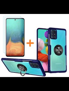 Ntech Samsung Galaxy A71 hoesje Luxe carbon TPU Backcover Met Metalen Ring Houder - Blauw met 2 pack screenprotector