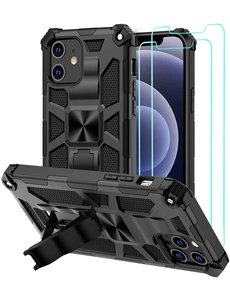 Ntech Apple iPhone 12 Pro Max hoesje Military Grade Invisible Built-in Kickstand - iPhone 12 Pro Max Metal Plate, Anti-Scratch Shockproof Zwart - 2 Pack Screenprotector