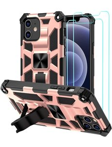 Ntech Apple iPhone 12 Pro Max hoesje Military Grade Invisible Built-in Kickstand - iPhone 12 Pro Max Metal Plate, Anti-Scratch Shockproof Rose Goud - 2 Pack Screenprotector
