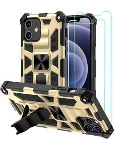Ntech Apple iPhone 12 Pro Max hoesje Military Grade Invisible Built-in Kickstand - iPhone 12 Pro Max Metal Plate, Anti-Scratch Shockproof Goud - 2 Pack Screenprotector