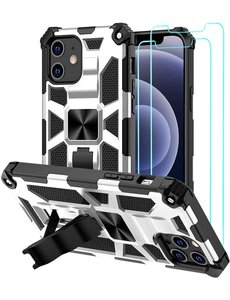 Ntech Apple iPhone 12 Pro Max hoesje Military Grade Invisible Built-in Kickstand - iPhone 12 Pro Max Metal Plate, Anti-Scratch Shockproof Zliver - 2 Pack Screenprotector