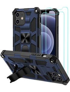 Ntech Apple iPhone 12 Mini Hoesje Military Grade Invisible Built-in Kickstand - iPhone 12 Mini Metal Plate, Anti-Scratch Shockproof Blauw - 2 Pack Screenprotector