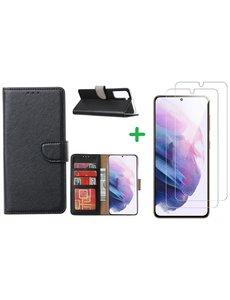 Ntech Samsung S21 hoesje bookcase zwart - Samsung Galaxy s21 hoesje bookcase wallet case portemonnee book case hoes cover hoesjes met 2 stuks Screenprotector