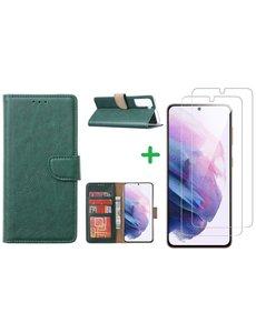 Ntech Samsung S21 hoesje bookcase Groen - Samsung Galaxy s21 hoesje bookcase wallet case portemonnee book case hoes cover hoesjes met 2 stuks Screenprotector