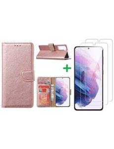 Ntech Samsung S21 hoesje bookcase Rose Goud - Samsung Galaxy s21 hoesje bookcase wallet case portemonnee book case hoes cover hoesjes met 2 stuks Screenprotector
