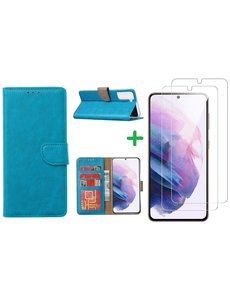 Ntech Samsung S21 hoesje bookcase Blauw - Samsung Galaxy s21 hoesje bookcase wallet case portemonnee book case hoes cover hoesjes met 2 stuks Screenprotector