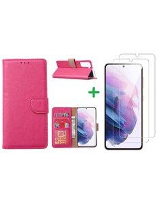 Ntech Samsung S21 hoesje bookcase Pink - Samsung Galaxy s21 hoesje bookcase wallet case portemonnee book case hoes cover hoesjes met 2 stuks Screenprotector