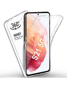 Ntech Samsung Galaxy S21 Hoesje Dual TPU Case hoesje - Samsung Galaxy S21 360° Cover 2 in 1 Case ( Voor en Achter) Transparant