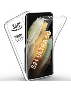 Ntech Samsung Galaxy S21 Ultra Hoesje Dual TPU Case hoesje - Samsung Galaxy S21 Ultra 360° Cover 2 in 1 Case ( Voor en Achter) Transparant