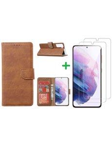 Ntech Samsung Galaxy S21 Plus hoesje wallet case Bruin - Samsung Galaxy s21 Plus hoesje bookcase portemonnee book case hoes cover hoesjes met 2 pack Screenprotector
