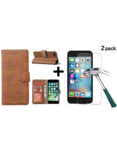 Ntech Apple iPhone SE 2020, 7, 8 hoesje wallet case Bruin - iPhone SE 2020, hoesje bookcase Portemonnee- iPhone 7, 8 Hoesje book cover hoesjes met 2 pack Screenprotector