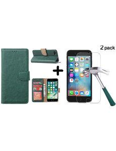 Ntech Apple iPhone SE 2020, 7, 8 hoesje wallet case Groen - iPhone SE 2020, hoesje bookcase Portemonnee- iPhone 7, 8 Hoesje book cover hoesjes met 2 pack Screenprotector