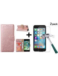 Ntech Apple iPhone SE 2020, 7, 8 hoesje wallet case Rose Goud - iPhone SE 2020, hoesje bookcase Portemonnee- iPhone 7, 8 Hoesje book cover hoesjes met 2 pack Screenprotector