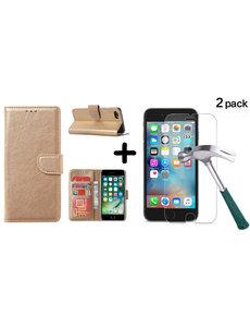Ntech Apple iPhone SE 2020, 7, 8 hoesje wallet case Goud - iPhone SE 2020, hoesje bookcase Portemonnee- iPhone 7, 8 Hoesje book cover hoesjes met 2 pack Screenprotector
