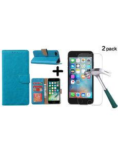 Ntech Apple iPhone SE 2020, 7, 8 hoesje wallet case Blauw - iPhone SE 2020, hoesje bookcase Portemonnee- iPhone 7, 8 Hoesje book cover hoesjes met 2 pack Screenprotector