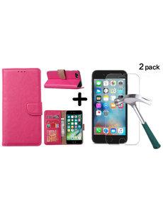 Ntech Apple iPhone SE 2020, 7, 8 hoesje wallet case Pink - iPhone SE 2020, hoesje bookcase Portemonnee- iPhone 7, 8 Hoesje book cover hoesjes met 2 pack Screenprotector