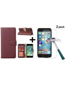 Ntech Apple iPhone SE 2020, 7, 8 hoesje wallet case Wine Rood - iPhone SE 2020, hoesje bookcase Portemonnee- iPhone 7, 8 Hoesje book cover hoesjes met 2 pack Screenprotector