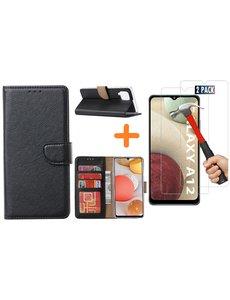 Ntech Samsung Galaxy A12 hoesje wallet case Zwart - Samsung Galaxy A12 hoesje bookcase Portemonnee- Samsung Galaxy A12 Hoesje book cover hoesjes met 2 pack Screenprotector