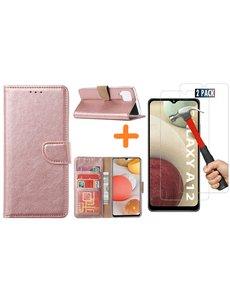 Ntech Samsung Galaxy A12 hoesje wallet case Rose Goud - Samsung Galaxy A12 hoesje bookcase Portemonnee- Samsung Galaxy A12 Hoesje book cover hoesjes met 2 pack Screenprotector