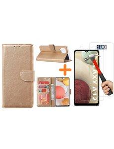 Ntech Samsung Galaxy A12 hoesje wallet case Goud - Samsung Galaxy A12 hoesje bookcase Portemonnee- Samsung Galaxy A12 Hoesje book cover hoesjes met 2 pack Screenprotector