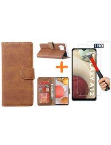 Ntech Samsung Galaxy A12 hoesje wallet case Bruin - Samsung Galaxy A12 hoesje bookcase Portemonnee- Samsung Galaxy A12 Hoesje book cover hoesjes met 2 pack Screenprotector
