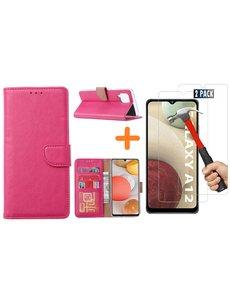 Ntech Samsung Galaxy A12 hoesje wallet case Roze - Samsung Galaxy A12 hoesje bookcase Portemonnee- Samsung Galaxy A12 Hoesje book cover hoesjes met 2 pack Screenprotector