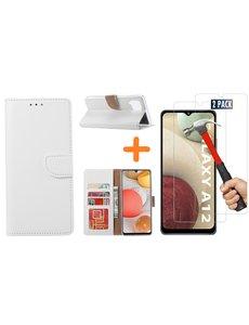 Ntech Samsung Galaxy A12 hoesje wallet case Wit - Samsung Galaxy A12 hoesje bookcase Portemonnee- Samsung Galaxy A12 Hoesje book cover hoesjes met 2 pack Screenprotector