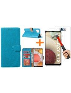 Ntech Samsung Galaxy A12 hoesje wallet case Blauw - Samsung Galaxy A12 hoesje bookcase Portemonnee- Samsung Galaxy A12 Hoesje book cover hoesjes met 2 pack Screenprotector