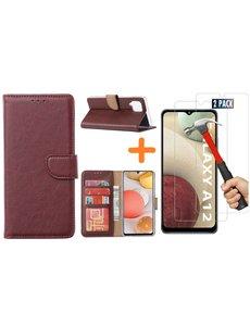 Ntech Samsung Galaxy A12 hoesje wallet case Bordeaux - Samsung Galaxy A12 hoesje bookcase Portemonnee- Samsung Galaxy A12 Hoesje book cover hoesjes met 2 pack Screenprotector