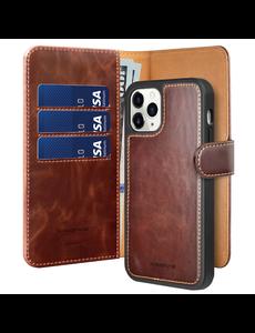 Ntech iPhone 12 Mini hoesje Luxe 2 in 1 bookcase - Apple iPhone 12 Mini Bookcase hoesje - iPhone 12 Mini wallet case hoesje iPhone 12 Mini wallet case - Kunstleer - met Pasjeshouder - Bruin