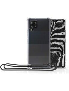 Ntech Samsung A42 5G hoesje met koord backcover - Samsung Galaxy A42 anti shock hoesje met draagoord Zwart