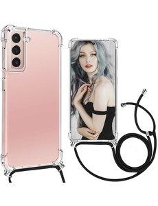 Ntech Samsung S21 Plus Hoesje transparant met draagkoord - Samsung Galaxy S21 Plus TPU backcover met koord - Zwart